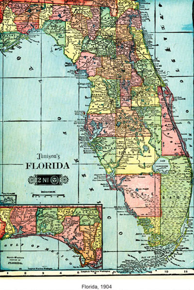 Map showing Dade County was before Broward and Palm Beach counties were founded