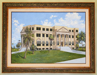 This painting, created by Jackie Brice, depicts the courthouse in 1916.