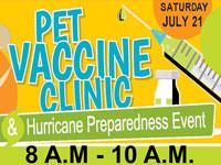 Pet Vaccine Clinic and Hurricane Preparedness Event Saturday