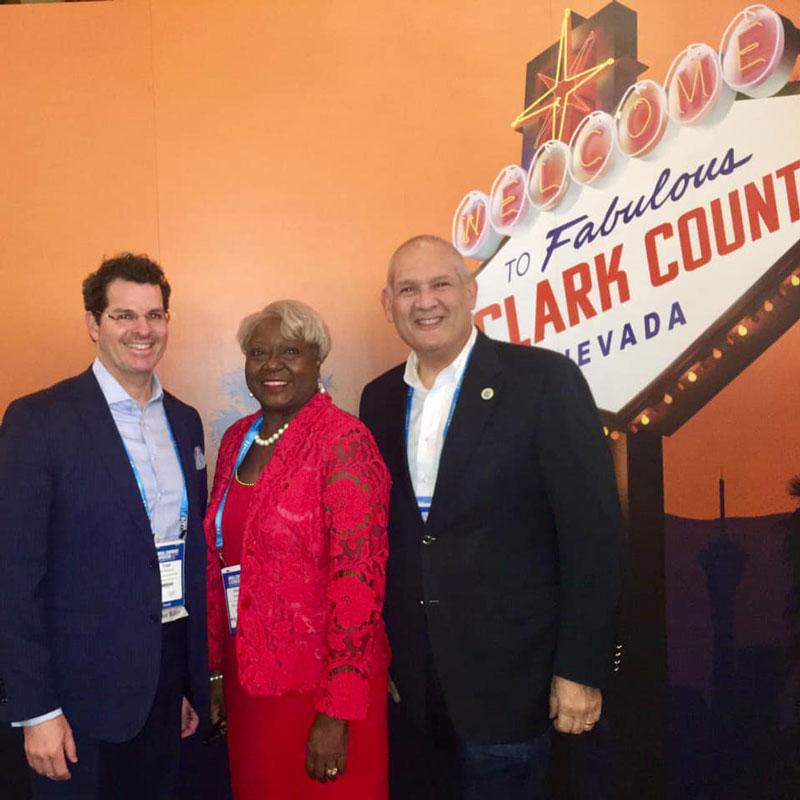Assistant County Administrator Todd Bonlarron, County Administrator Verdenia Baker and Commissioner Weinroth.