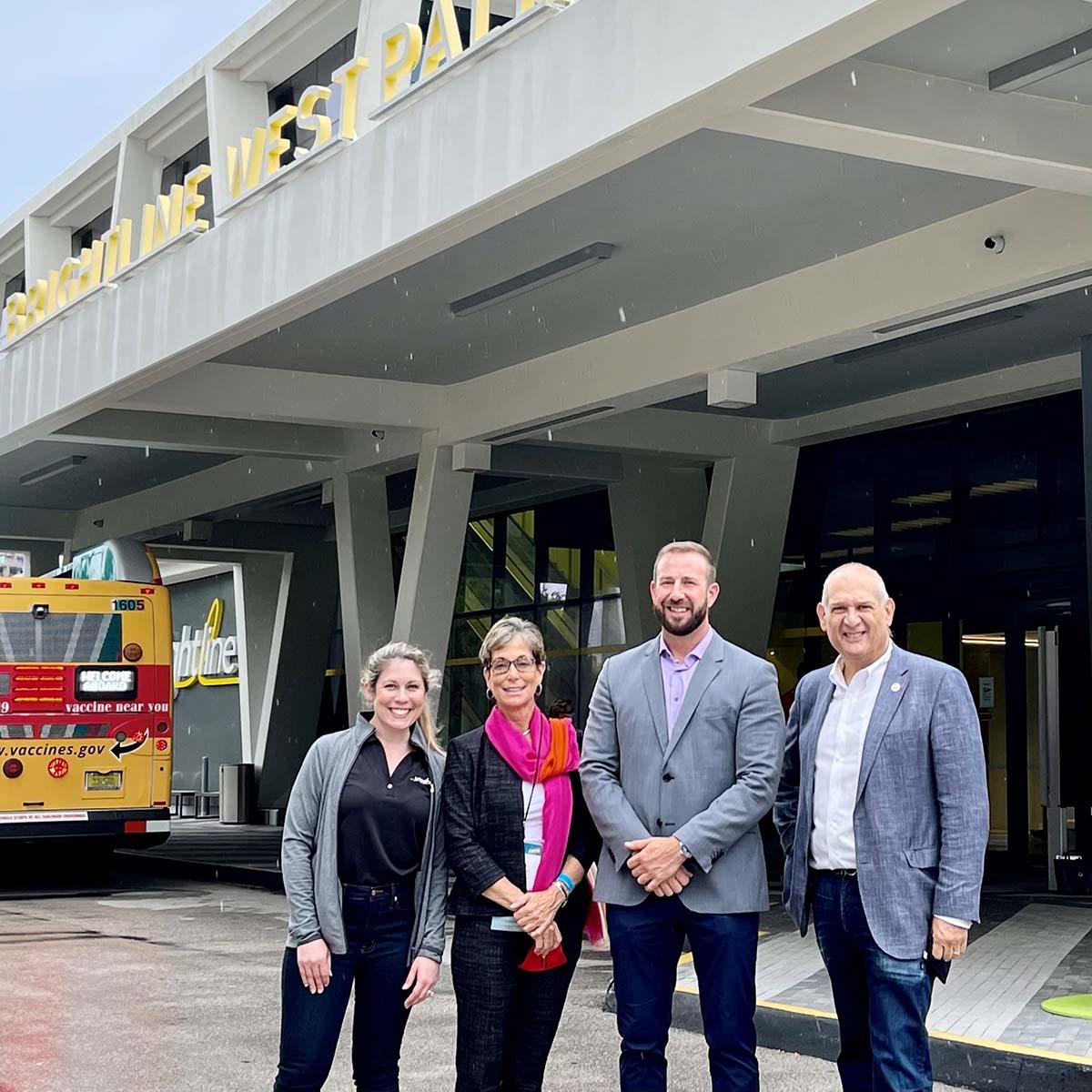 Brightline Chief of Staff Ali Soule, Commissioner Maria Marino, Brightline President Patrick Goddard and Vice Mayor Robert Weinroth