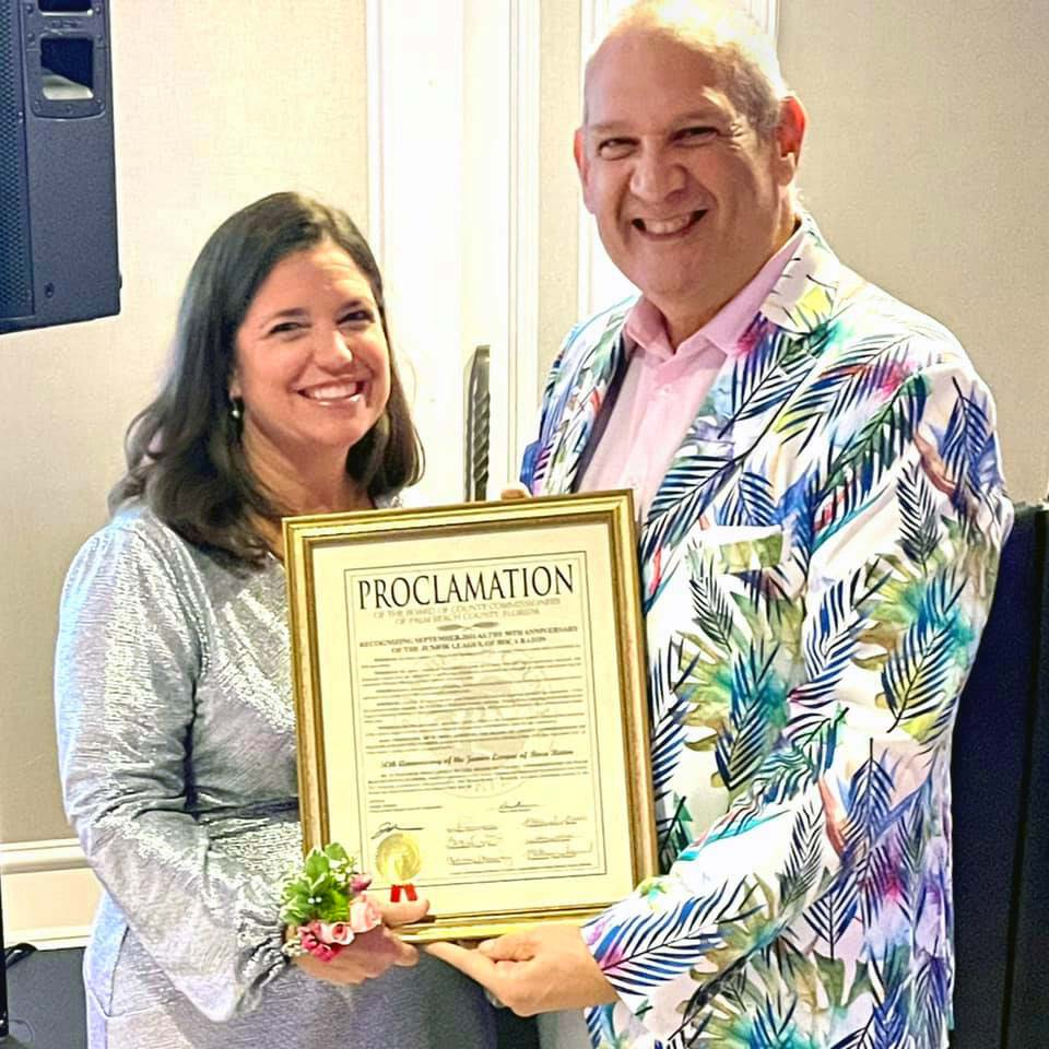 Pictured here (l to r): Junior League of Boca Raton President Jamie Sauer and Vice Mayor Robert Weinroth.