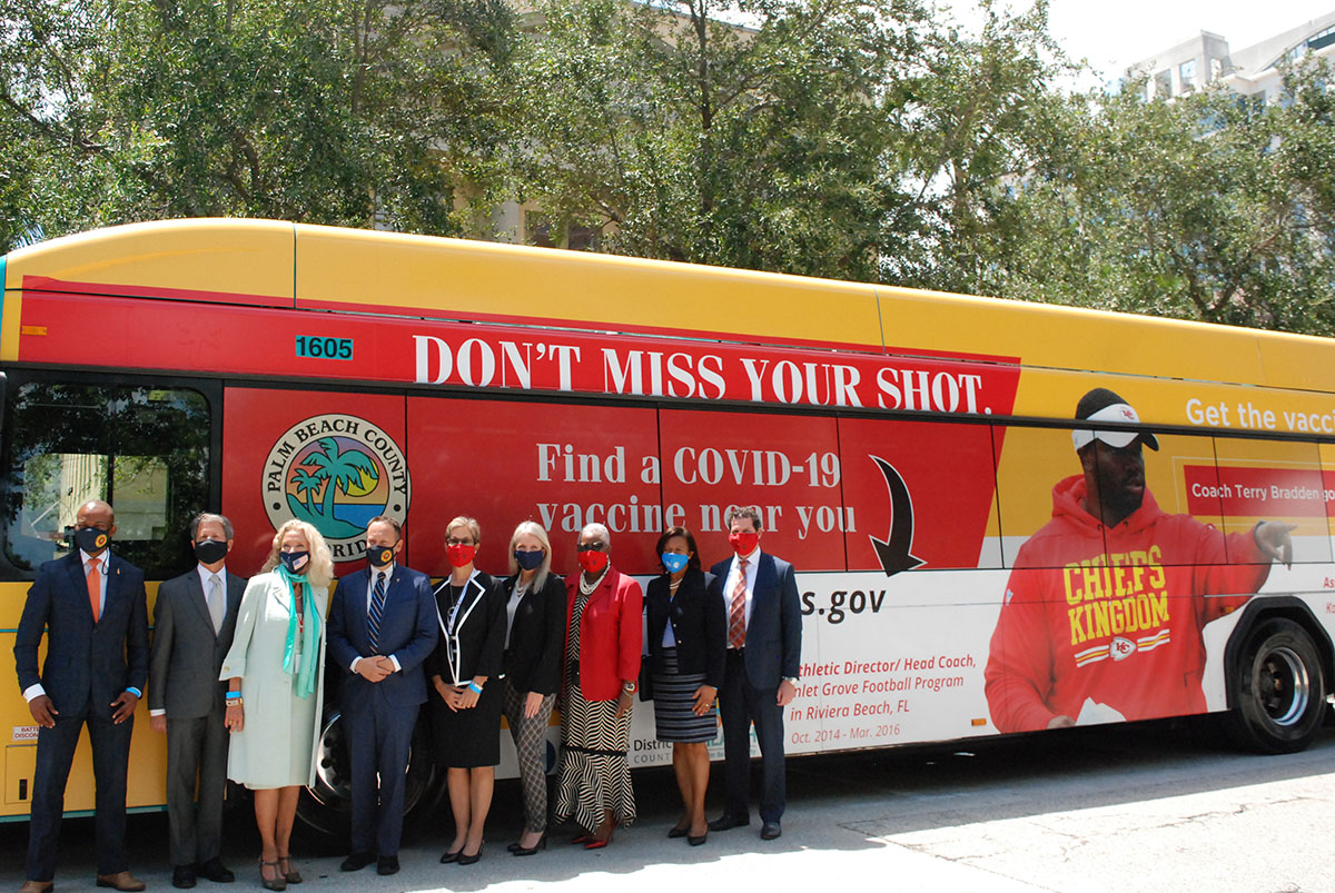 County Commissioners with Palm Tran Vaccine bus
