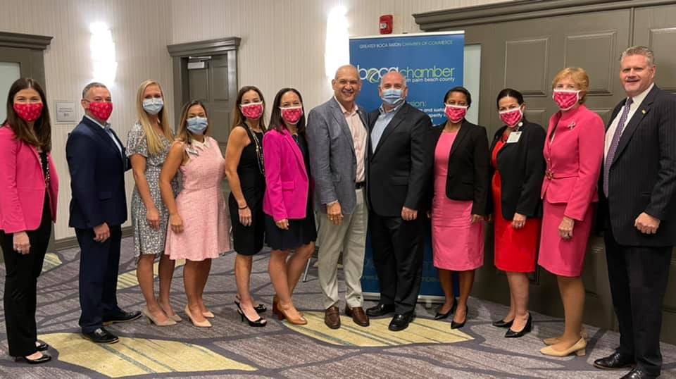 Pictured here are Vice Mayor Weinroth (center) and Greater Boca Raton Chamber of Commerce breakfast attendees.