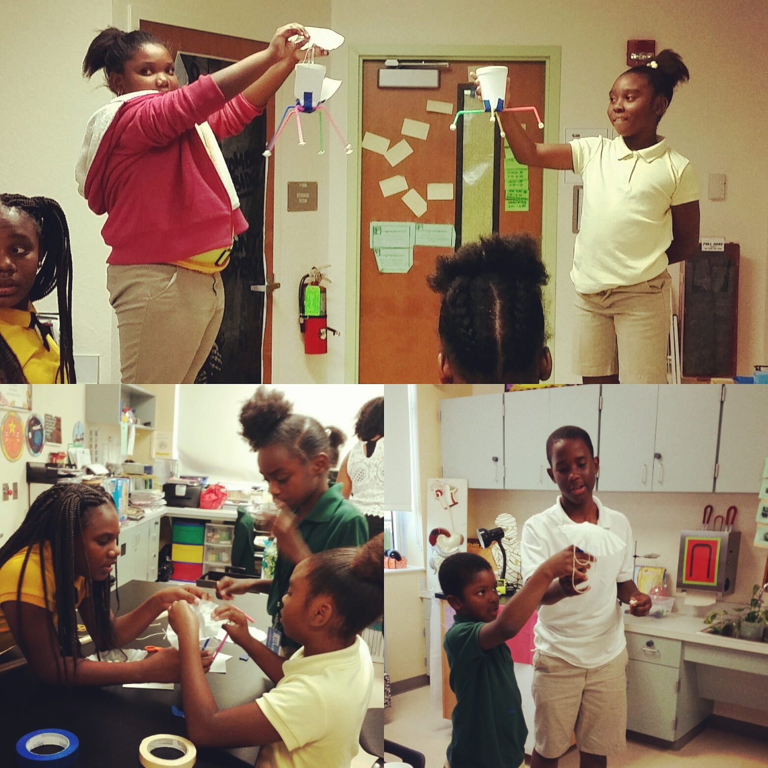photos of students experimenting with 4H science kits
