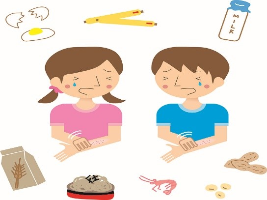 cartoon style image of kids and food