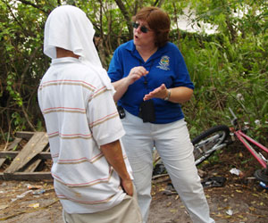 Social worker Sue Jalm conducts an assessment.