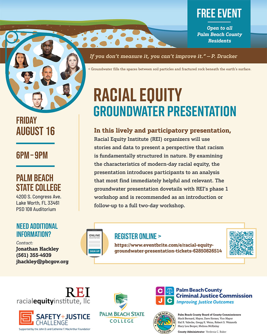 Racial Equity Groundwater Presentation, Click for Tickets, Friday, August 16, 6-9pm, Palm Beach State College