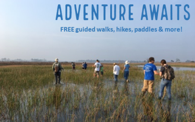 Picture Link for Adventure Awaits Program that offers free Guided walks, hikes. paddles & more