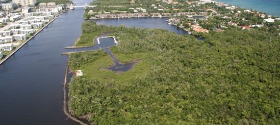 Picture taken from a helicopter of the boat basin at Ocean Ridge Natural Area