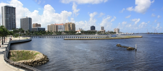 Picture of created estuarine islands along the downtown West Palm Beach Waterfront at South Cove Natural Area