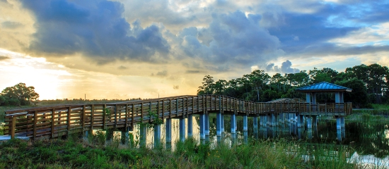Picture of long accessible boardwalk over the restored wetland to a covered observation platform at Winding Waters Natural Area
