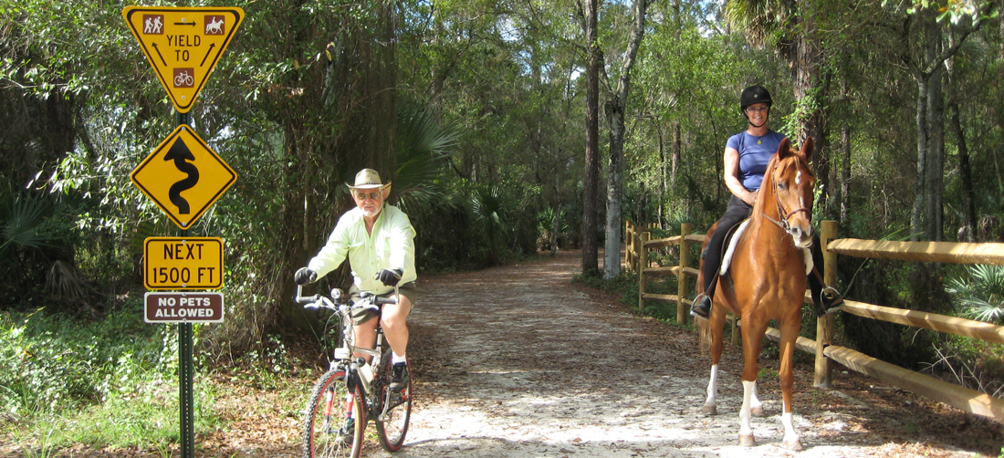 Cyclist and Equestrian on a multiuse trail