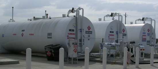 Picture of petroleum storage tanks that are aboveground