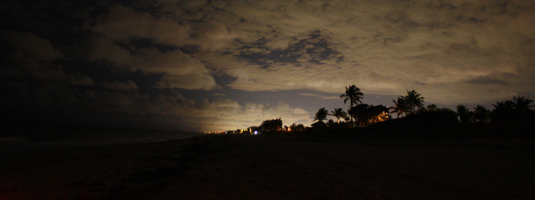 Scene showing inland skyglow reaching the beach