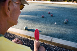 man playing bocce