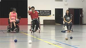 people playing boccia in wheelchairs