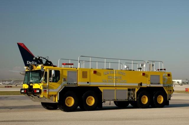 Type of Unit:  Dragon  Station:  81  Year Built:  2001  Manufacturer:  E-One  Chassis:  Titan HPR Crash Truck  Water Capacity:  3000 gallons   Pump Rate:  2000 gallons per minute   Foam Capacity:  400 gallons