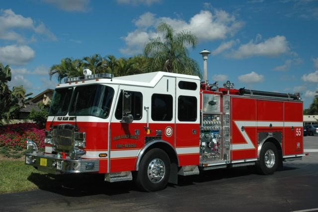 Type of Unit: Engine  Station: 55  Year Built:  2013  Manufacturer:  Sutphen  Chassis:  Typhoon Custom Cab  Water Capacity:  750 gallons   Pump Rate:  1250 gallons per minute   Foam Capacity:  15 gallons