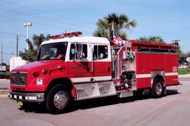 Type of Unit: Engine  Station: 58  Year Built:  2006  Manufacturer:  E-One  Chassis:  Freightliner FL-80  Water Capacity:  750 gallons   Pump Rate:  1250 gallons per minute   Foam Capacity:  15 gallons