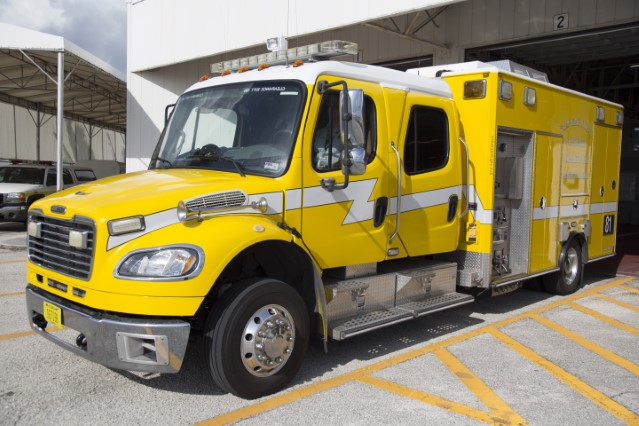 Type of Unit: Rescue Pumper  Station: 81  Year Built:  2007  Manufacturer:  American LaFrance MedicMaster  Chassis:  Freightliner M2  Water Capacity:  300 gallons   Pump Rate:  500 gallons per minute   Foam Capacity:  15 gallons