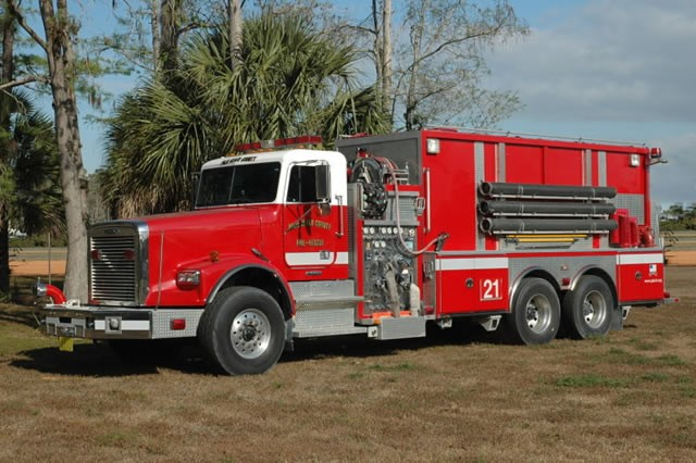Type of Unit:  Tender Station:  21 Year Built:  2003 Manufacturer:  Ferrara Chassis:  Freightliner FL-120 Water Capacity:  3000 gallons  Pump Rate:  1250 gallons per minute  Foam Capacity:  50 gallons