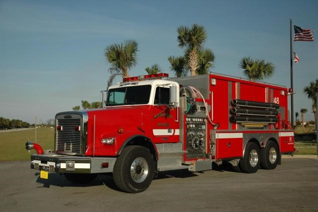 Type of Unit: Tender  Station: 48  Year Built: 2003  Manufacturer:  Ferrara  Chassis:  Freightliner FL-120  Water Capacity:  3000 gallons   Pump Rate:  1250 gallons per minute   Foam Capacity:  50 gallons