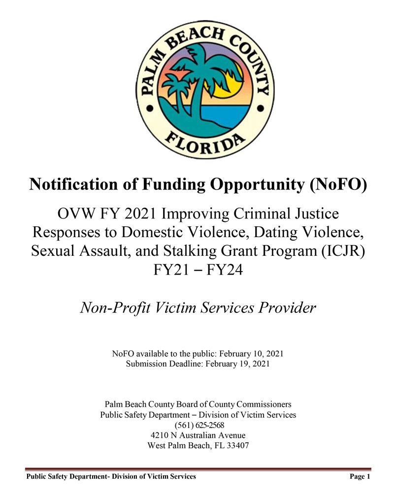 Notification of Funding Opportunity (NoFO)
