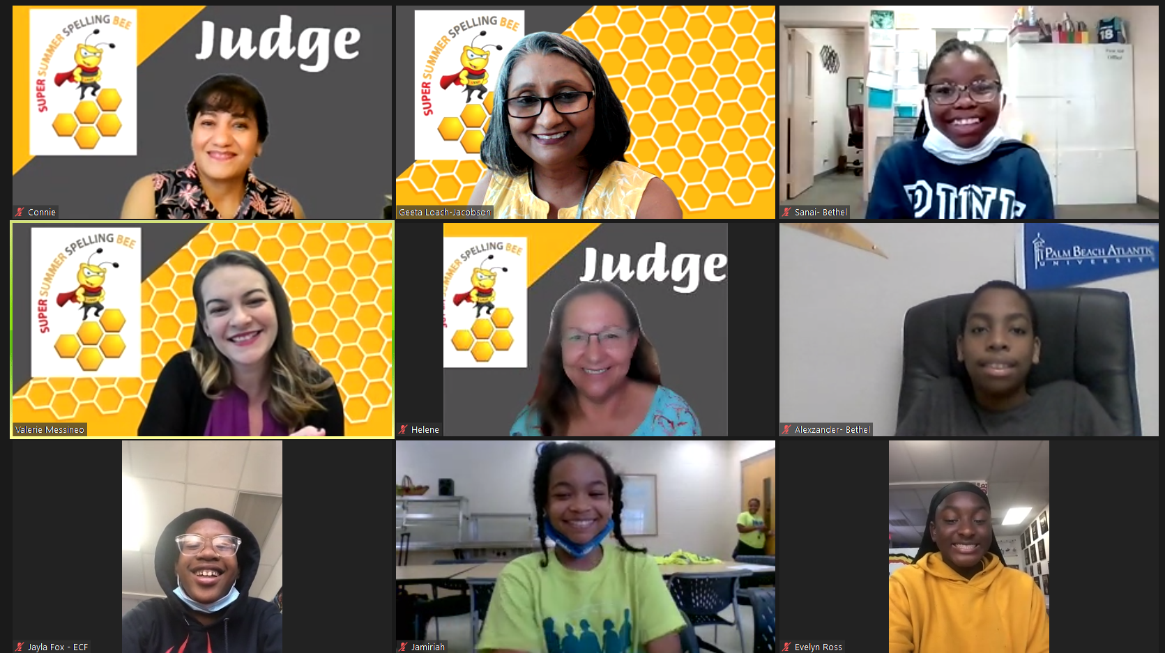 Spelling bee judges and contestants